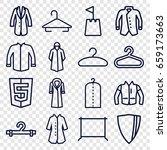 coat icons set. set of 16 coat... | Shutterstock .eps vector #659173663