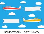 flying planes with banners. set ... | Shutterstock .eps vector #659184697