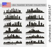 most famous usa cities skyline... | Shutterstock .eps vector #659185147