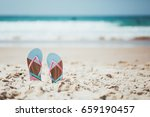 trendy  blue and pink slippers... | Shutterstock . vector #659190457
