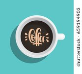 a coffee cup painted in a flat...   Shutterstock .eps vector #659194903