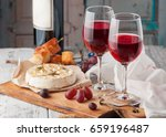 Two Glasses Of Red Wine  Brie...