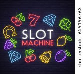 slot machine neon sign  bright... | Shutterstock .eps vector #659196763
