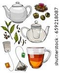 a tea set. teapot and a mug... | Shutterstock .eps vector #659218087