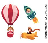 kids  children flying in... | Shutterstock .eps vector #659243323