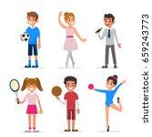 kids creativity and sport. flat ... | Shutterstock .eps vector #659243773