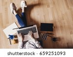 modern workspace   girl with... | Shutterstock . vector #659251093