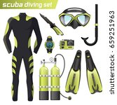 realistic snorkeling and scuba...   Shutterstock .eps vector #659251963