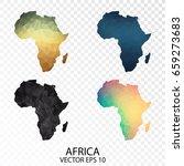 set of transparent polygonal... | Shutterstock .eps vector #659273683