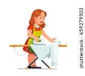 young housewife woman ironing... | Shutterstock .eps vector #659279503