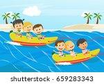 children having fun on banana... | Shutterstock .eps vector #659283343