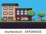 pixel art street with park ... | Shutterstock .eps vector #659284333