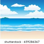 beach and sea vector drawn... | Shutterstock .eps vector #659286367