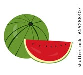 isolated pair of watermelons on ... | Shutterstock .eps vector #659288407