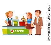 cashier girl working ringing... | Shutterstock .eps vector #659291077