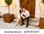 young beautiful couple in love... | Shutterstock . vector #659292547
