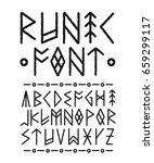 runic hand drawn font. vector... | Shutterstock .eps vector #659299117