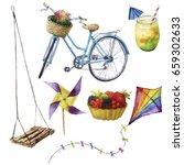 watercolor summer pleasures set.... | Shutterstock . vector #659302633