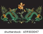 embroidery oriental floral... | Shutterstock .eps vector #659303047