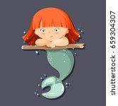 cute cartoon little mermaid... | Shutterstock .eps vector #659304307