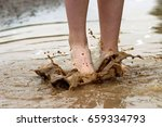 young girl's barefoot feet and...   Shutterstock . vector #659334793