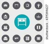 set of 13 decor icons set... | Shutterstock .eps vector #659344627