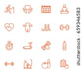 set of 16 fitness outline icons ... | Shutterstock .eps vector #659346583