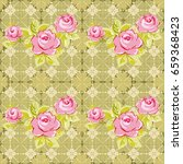 seamless floral pattern with... | Shutterstock .eps vector #659368423