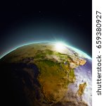 Africa From Earth's Orbit In...