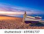 old wooden fishing boat on... | Shutterstock . vector #659381737