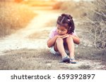 lonely and sad little girl... | Shutterstock . vector #659392897