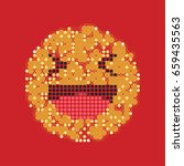 laughing yellow smiley in dots. ...