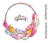 boho style frame with colorful... | Shutterstock .eps vector #659447653