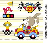 bunny the car racer with trophy ... | Shutterstock .eps vector #659456983