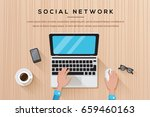 workplace with person working... | Shutterstock .eps vector #659460163