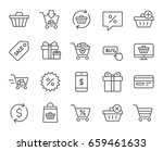 shopping line icons. gifts ... | Shutterstock .eps vector #659461633