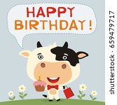 Happy Birthday  Funny Cow With...