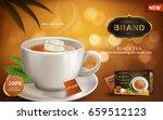Stock vector black tea ad with hot tea and tea bag in white cup blur background d illustration 659512123