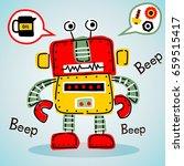 funny robot  vector cartoon... | Shutterstock .eps vector #659515417