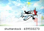 aviator woman. mixed media | Shutterstock . vector #659533273