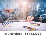 double exposure of businessman... | Shutterstock . vector #659533393