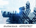 double exposure of city views | Shutterstock . vector #659537827