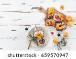 summer snack  sandwiches with... | Shutterstock . vector #659570947