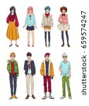 set of cute anime characters.... | Shutterstock . vector #659574247