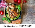 roast chicken with vegetables | Shutterstock . vector #659576347
