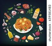 spaghetti bolognese with... | Shutterstock .eps vector #659581483