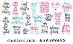romantic lettering set.... | Shutterstock .eps vector #659599693