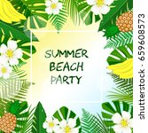 greeting card beach party with...   Shutterstock .eps vector #659608573
