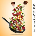 fresh vegetables and pieces of... | Shutterstock . vector #659614243