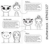 3 steps Facial treatment monochrome instruction, girl and panda